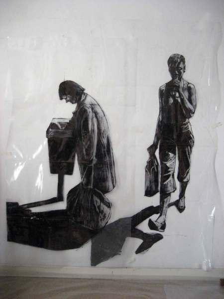Bag lady. 2013. figures 3/4 life size. marker pen on polythene.
