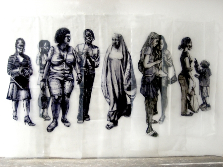 8 women and angry boy. dimensions vary 20014. Marker pen on polythene